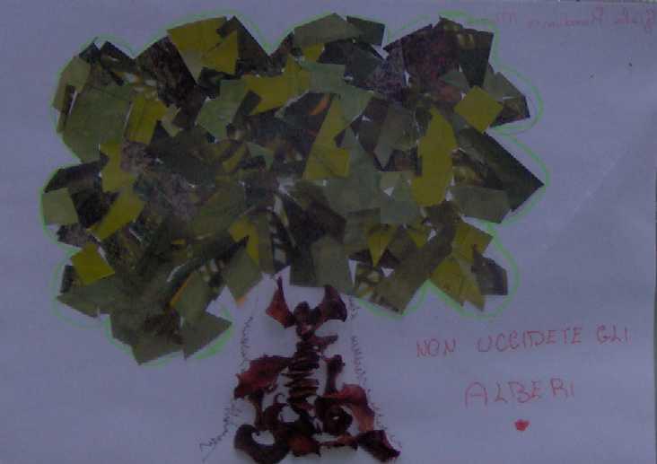 Dei disegni dei bambini del quartiere per gli alberi delbosco di gioia
